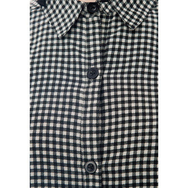 Georgette Black & White Checkered Print Shirt Style Dress