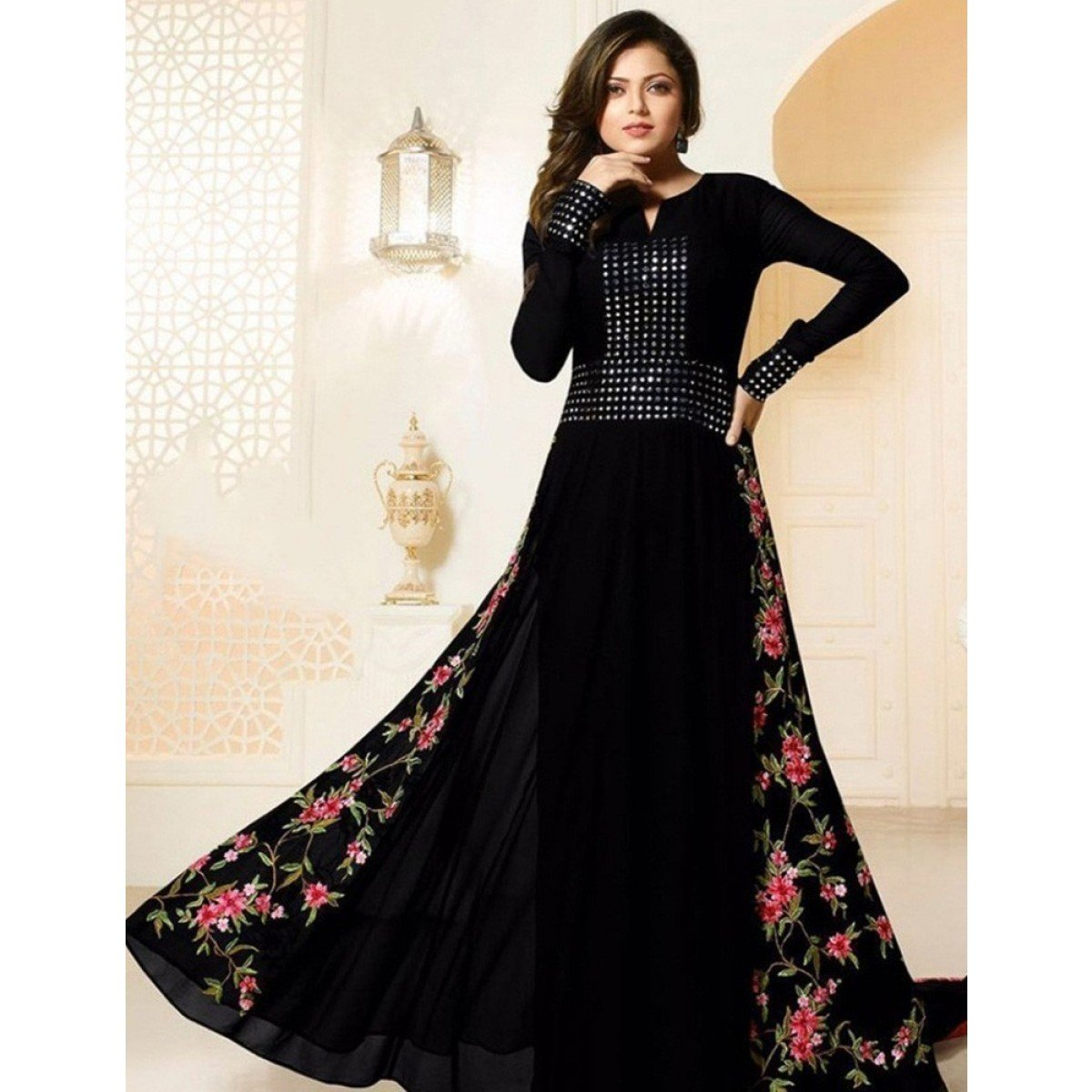 Drashti Dhami Georgette Black Embroidered Semi Stitched Anarkali Suit
