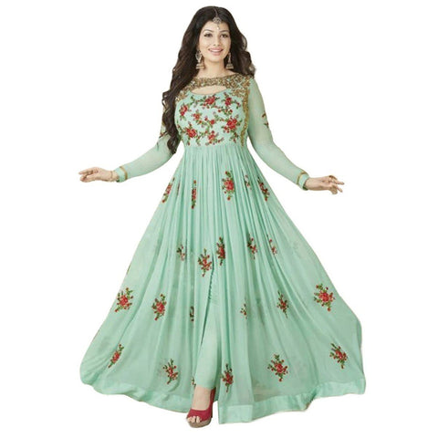 Ayesha Takia Georgette Green Embroidered Semi Stitched Pant Style Suit