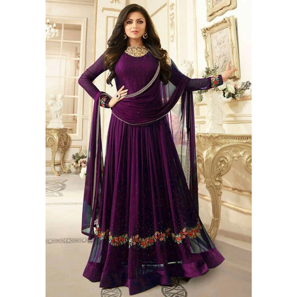 Drashti Dhami Georgette Purple Embroidered Semi Stitched Anarkali Suit
