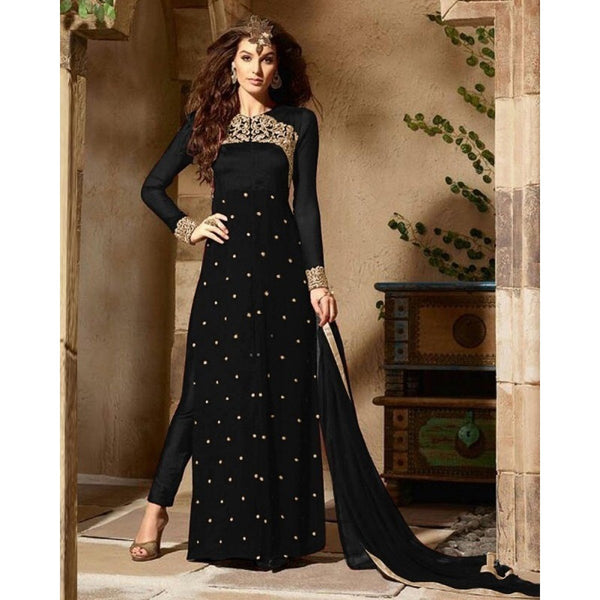 Georgette Black Embroidered Semi Stitched Pant Style Suit