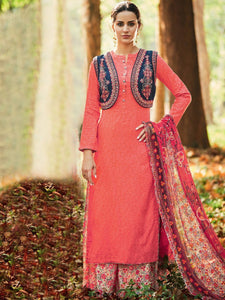 Coral & Beige Un-Stitched Embroidered Suit