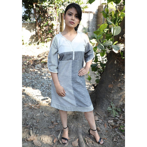 Cotton Grey Printed Dress