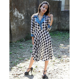 Rayon Multicolour Checkered Print Dress