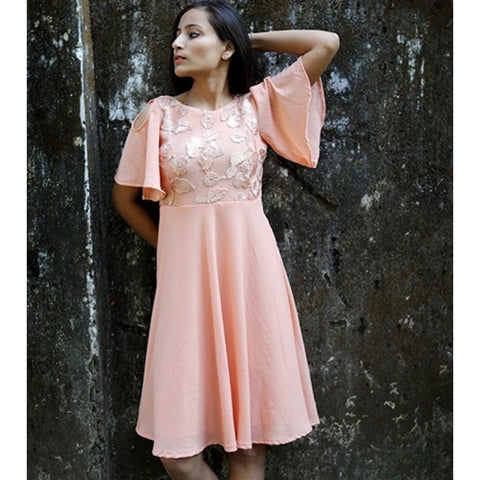 Georgette & Net Peach Plain Dress
