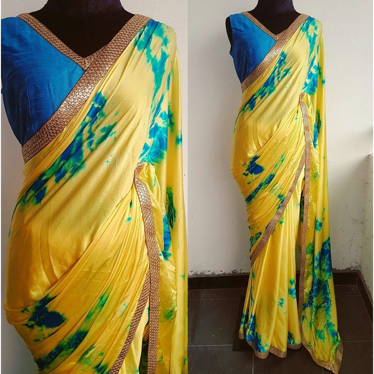 Crepe Yellow Printed Saree