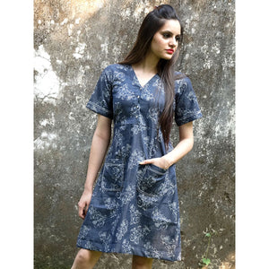 Denim Blue Printed Frock Style Dress