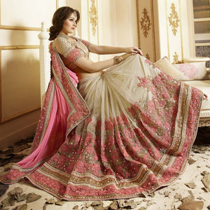 Georgette Pink & Beige Embroidered Saree
