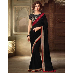 Georgette Black Plain Saree
