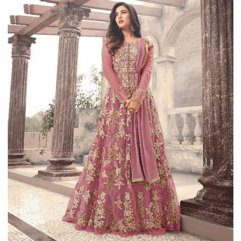 Sonal Chauhan Net Pink Embroidered Semi Stitched Long Anarkali Suit