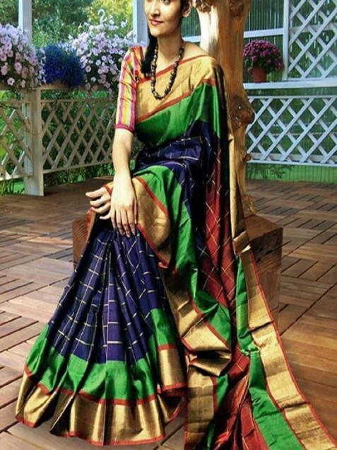 Exciting multicolour poly silk Printed Saree
