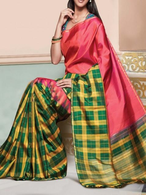 Art Silk Multicolour Checkered Print Saree