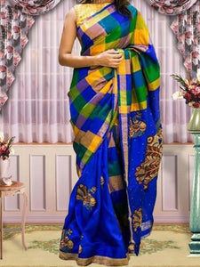 Chanderi Silk Multicolour Checkered Print Saree