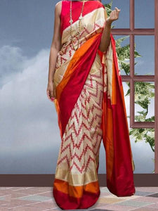 Chanderi Silk Multicolour Chevron Print Saree