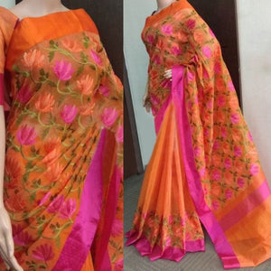Cotton Orange Printed Saree