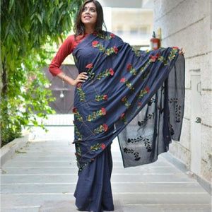 Chanderi Silk Blue Embroidered Saree