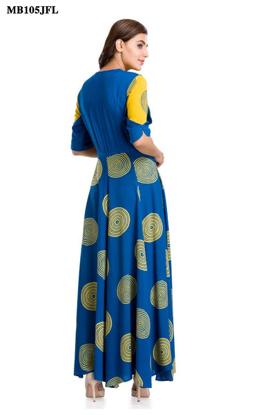 Blue and Yellow Floor Length Kurti
