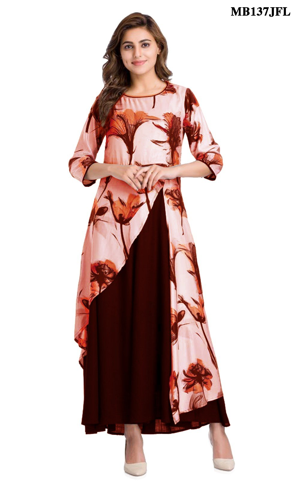 Brown Flower Print Kurti