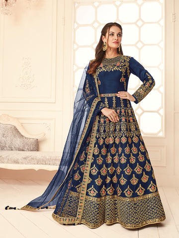 Navy Beautiful Color Wedding Anarkali Suit