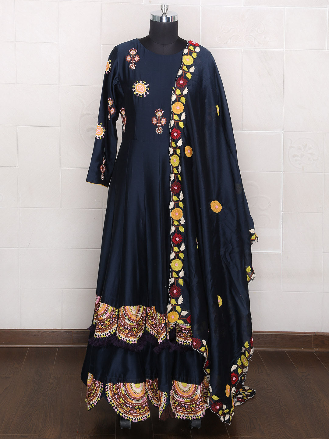 Navy Color Wedding Wear Silk Fabric Anarkali Suit