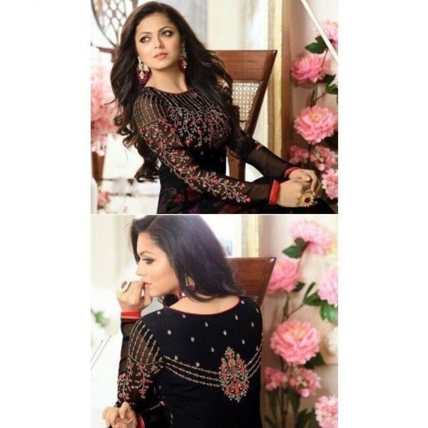 Drashti Dhami Black Embroidered Semi Stitched Anarkali Suit