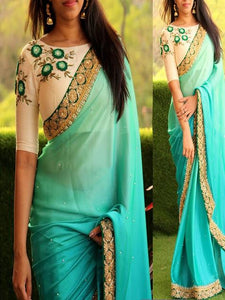 Georgette Blue Embroidered Saree
