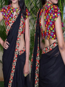 Georgette Black Embroidered Saree