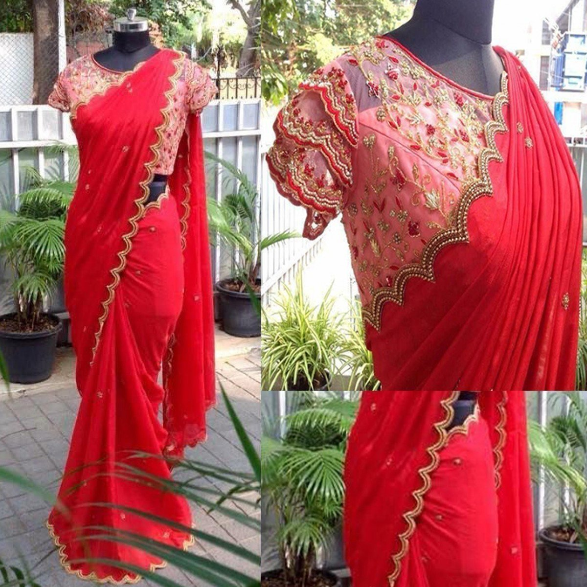Chiffon Red Embroidered Saree