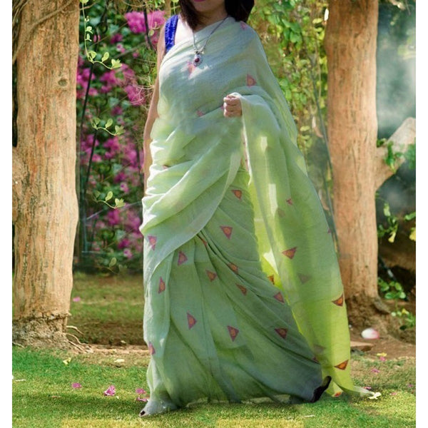 Poly Cotton Green Embroidered Saree