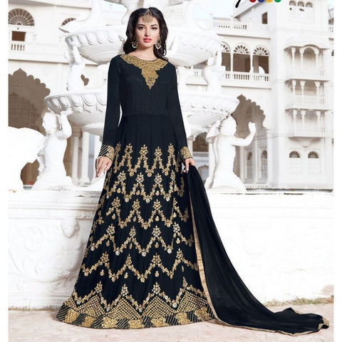 Georgette Black Embroidered Semi Stitched Long Anarkali Suit