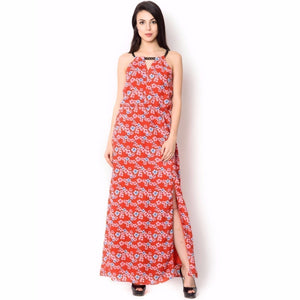 Poly Cotton Red Floral Print Long Dress