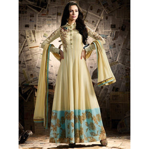 Georgette Beige Embroidered Semi Stitched Long Anarkali