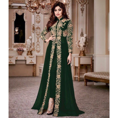 Shamita Shetty Georgette Green Embroidered Semi Stitched Pant Style Suit