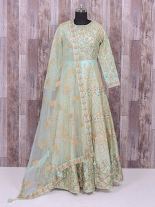 Sea Green Silk Attractive Wedding Anarkali Suit