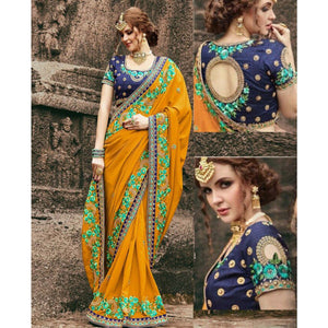 Chiffon Orange Embroidered Saree