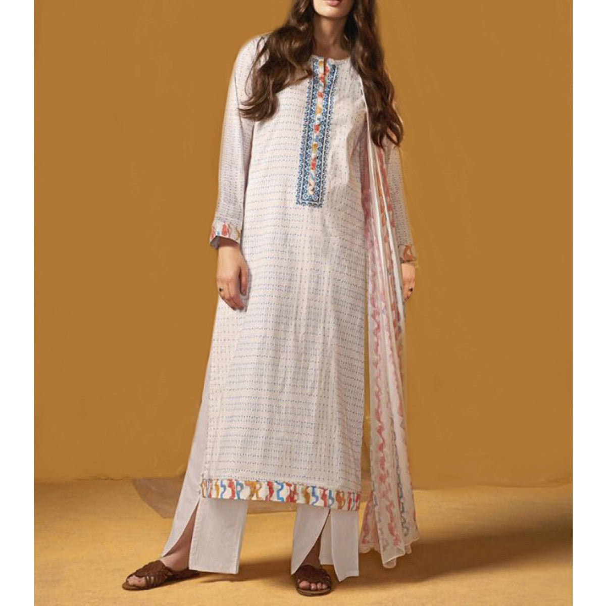 Cotton White Printed Unstitched Straight Suit