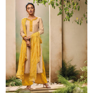 Cotton Cream Plain Unstitched Palazzo Style Suit