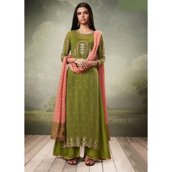 Georgette Green Embroidered Unstitched Palazzo Style Suit