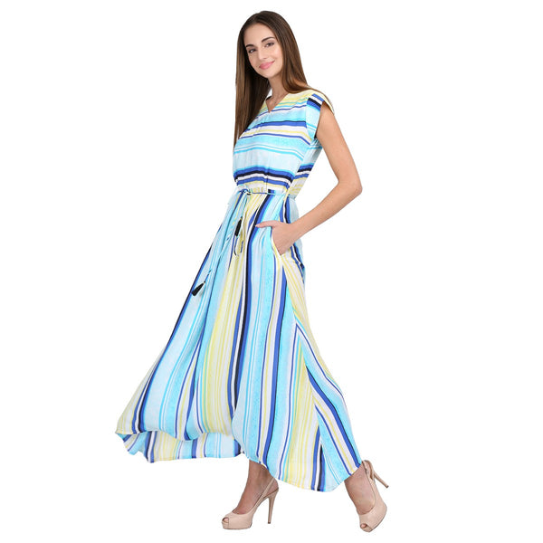 Crepe Multicolour Stripe Print Maxi Dress