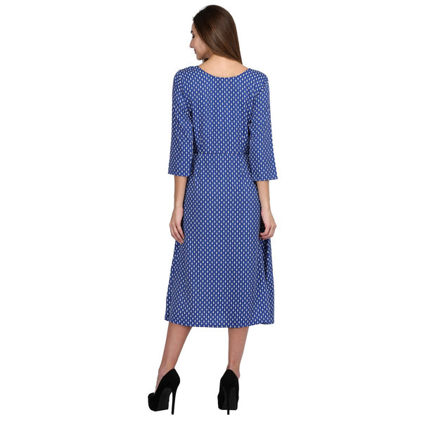 Crepe Blue Stitched Printed Dress