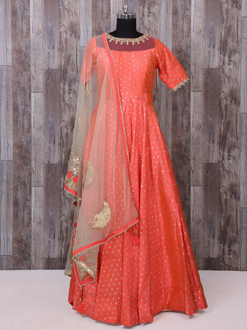 Tomato Red Color Silk Anarkali Suit