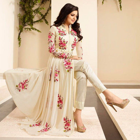 Drashti Dhami Georgette Cream Embroidered Semi Stitched Pant Style Suit