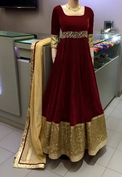 brown velvet anarkali