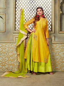 Yellow And Green Chanderi Silk Indo Western