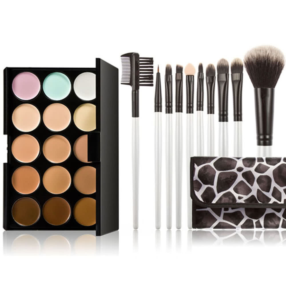 Face Cosmetic Earth Tone With Makeup Brush Set Zilyfash 36 Pcs Professional Facial Wood Make Up Brushes Tools Kit Black Leather Case