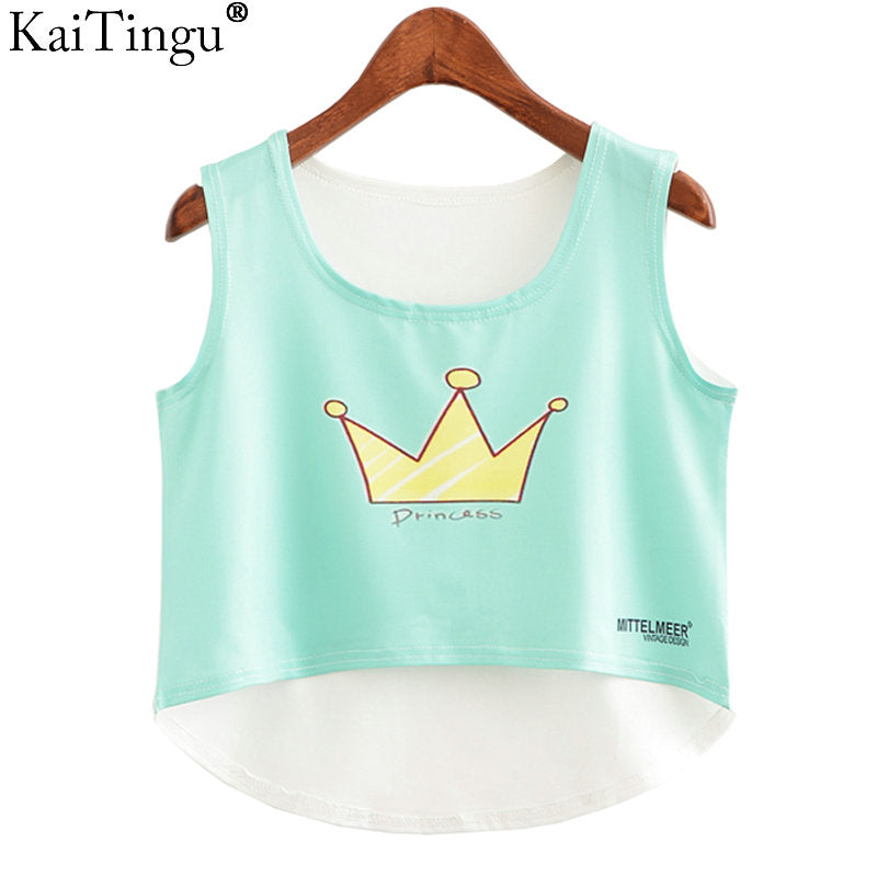 Crop Top Sleeveless Casual Top Women
