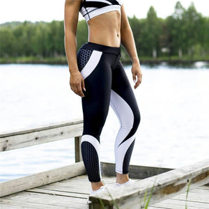 Printed Workout Leggings For Women Elastic Trousers Slim Black White Pants