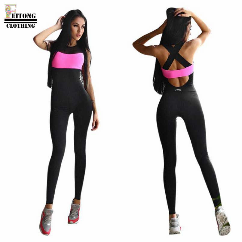 Black Patchwork Short Sleeve Backless Jumpsuit Active Wear Fitness Stretch Pants
