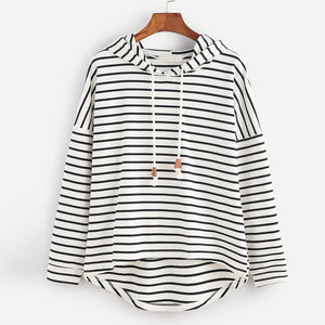 Womens Stripe Hoodie Loose hoodies Hooded Long Sleeve Tracksuits Casual Pullover