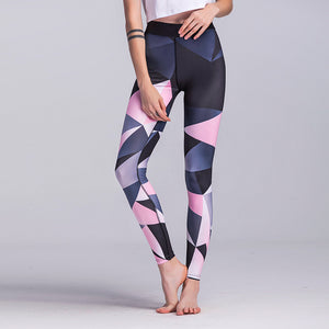 New gradient pink navy color block contrast high rise Leggings